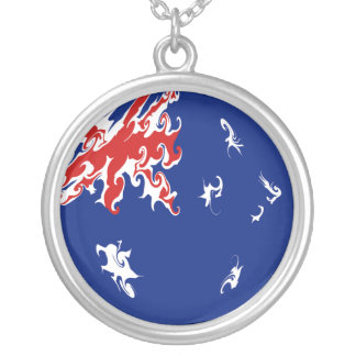 Australia Gnarly Flag Silver Plated Necklace