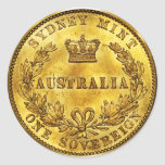 Australia Gold Sovereign Vintage (pack of 6/20) Classic Round Sticker