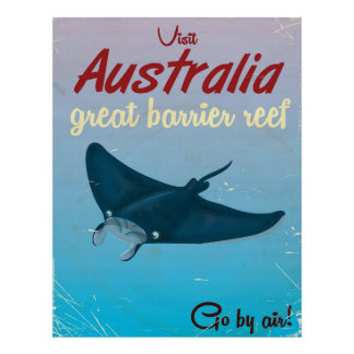 Australia Great barrier reef vintage travel poster