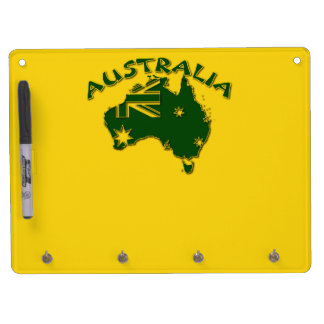 Australia green and gold dry erase board with keychain holder