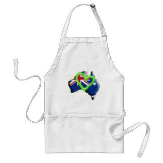 Australia (green heart) adult apron