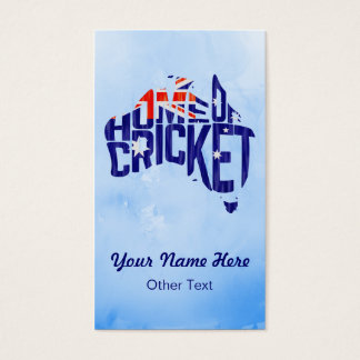 Australia Home of Cricket Calligram Business Cards