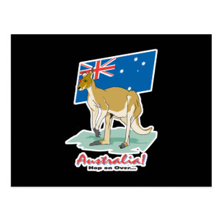 australia hop on over kangaroo postcard