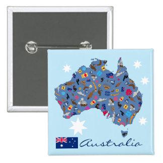 Australia - iconos famosos del downunder de la pin cuadrada 5 cm