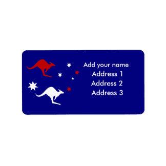 Australia Kangaroo and Southern Cross design Address Label