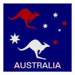 Australia Kangaroo and Southern Cross design Poster