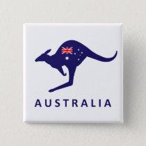 AUSTRALIA KANGAROO FLAG PINBACK BUTTON