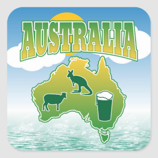 Australia - Land of Sheep Roos and Beer Square Sticker