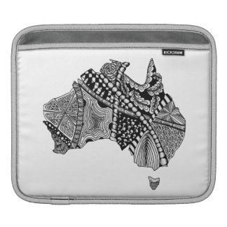 Australia Map Doodle Art Black and White Sleeves For iPads