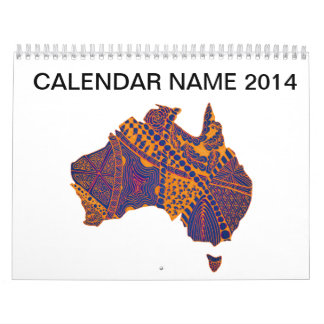 Australia Map Doodle Orange Purple Calendar