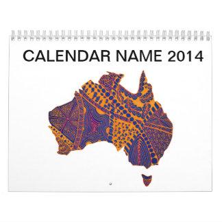 Australia Map Doodle Orange Purple Calendar