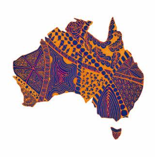 Australia Map Doodle Orange Purple Cutout