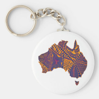 Australia Map Doodle Orange Purple Keychain