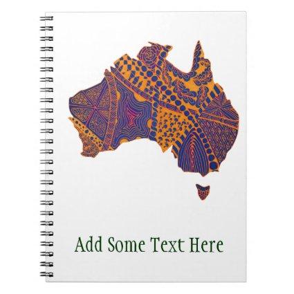 Australia Map Doodle Orange Purple Note Book