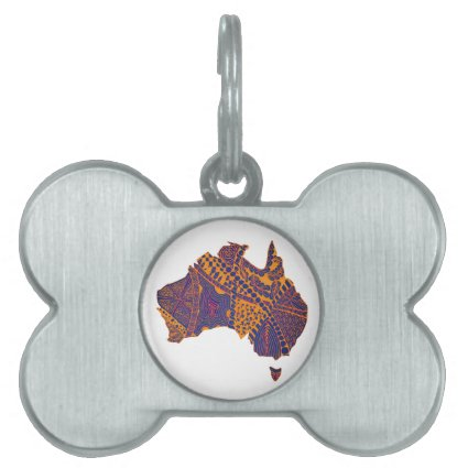 Australia Map Doodle Orange Purple Pet Name Tag