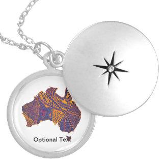 Australia Map Doodle Orange Purple Round Locket Necklace