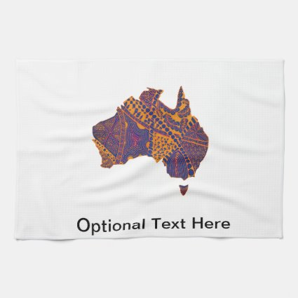 Australia Map Doodle Orange Purple Towels