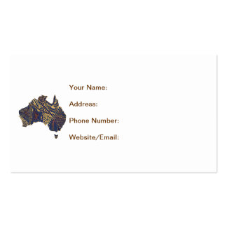 Australia Map Doodle Tan Red Blue Business Card Template
