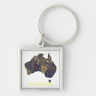 Australia Map Doodle Tan Red Blue Keychain