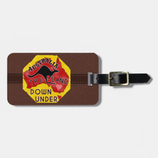 Australia Map Land Down Under Kangaroo Custom Name Luggage Tag