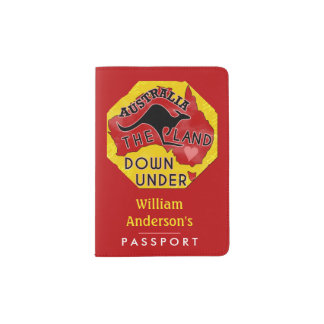 Australia Map Land Down Under Kangaroo Custom Name Passport Holder