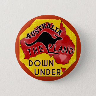 Australia Map Land Down Under with Kangaroo Retro Button