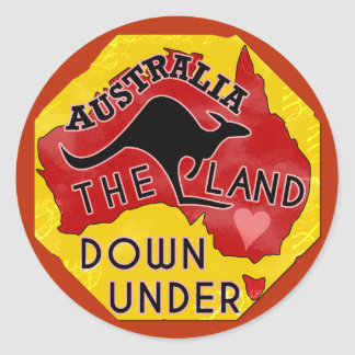 Australia Map Land Down Under with Kangaroo Retro Classic Round Sticker