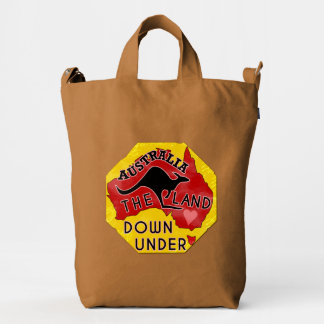 Australia Map Land Down Under with Kangaroo Retro Duck Bag