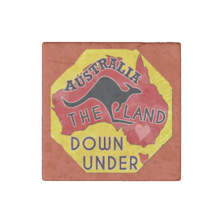 Australia Map Land Down Under with Kangaroo Retro Stone Magnet