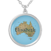 Australia Map   Name Necklace