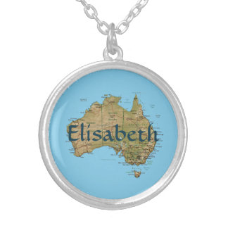 Australia Map + Name Necklace