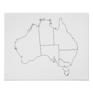 Australia Map Outline Poster