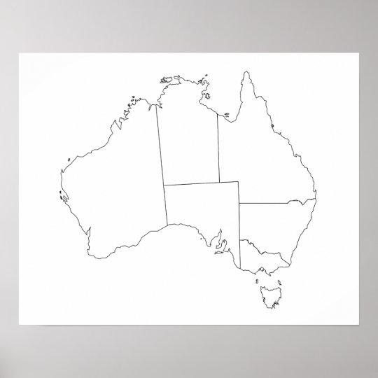Map Outline Australia.Australia Map Outline Poster