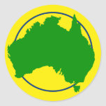 Australia Map Silhouette Round Sticker