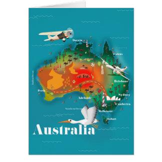 Australia Map Travel poster Card