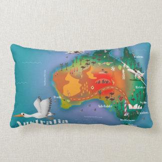 Australia Map Travel poster Lumbar Pillow
