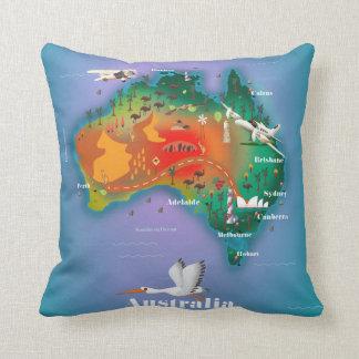Australia Map Travel poster Throw Pillow
