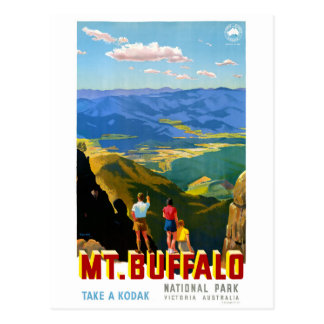 Australia Mt. Buffalo Vintage Travel Poster Postcard
