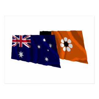 Australia & Northern Territory Waving Flags Postcard