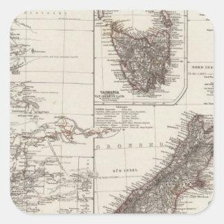 Australia occidental Tasmania y Nueva Zelanda Calcomania Cuadradas Personalizadas