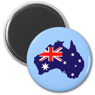 Australia outline and flag 2 inch round magnet