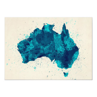 Australia Paint Splashes Map Card