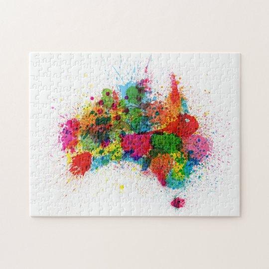Australia Map Jigsaw.Australia Paint Splashes Map Jigsaw Puzzle