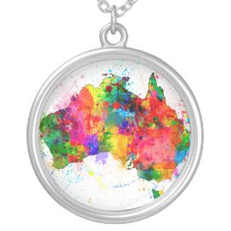 Australia Paint Splashes Map Custom Jewelry