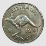 Australia Penny 1941 (pack of 6/20) Round Stickers
