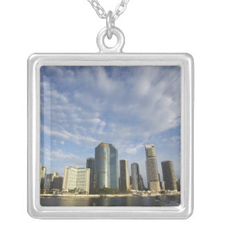 Australia, Queensland, Brisbane, Skyscrapers and Silver Plated Necklace