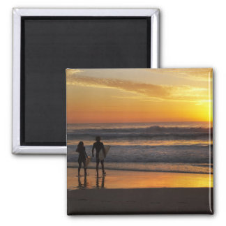 Australia, Queensland, Gold Coast, Surfers at 2 Inch Square Magnet