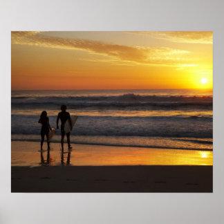 Australia, Queensland, Gold Coast, Surfers at Poster