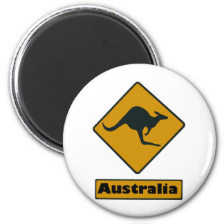 Australia Road Sign - Kangaroo Crossing 2 Inch Round Magnet