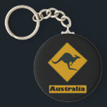 "Australia Road Sign - Kangaroo Crossing Keychain<br><div class=""desc"">Kangaroo  Crossing.   It&#39;s a real road sign.  I took the photo in May 2010 in Queensland Australia. I added the &quot;Australia. 